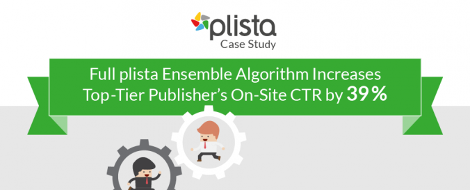 A test proved the superiority of plista recommendations: The plista Ensemble Algorithm Increases Top Tier Publisher's On-Site CTR by 39%. Read more ...